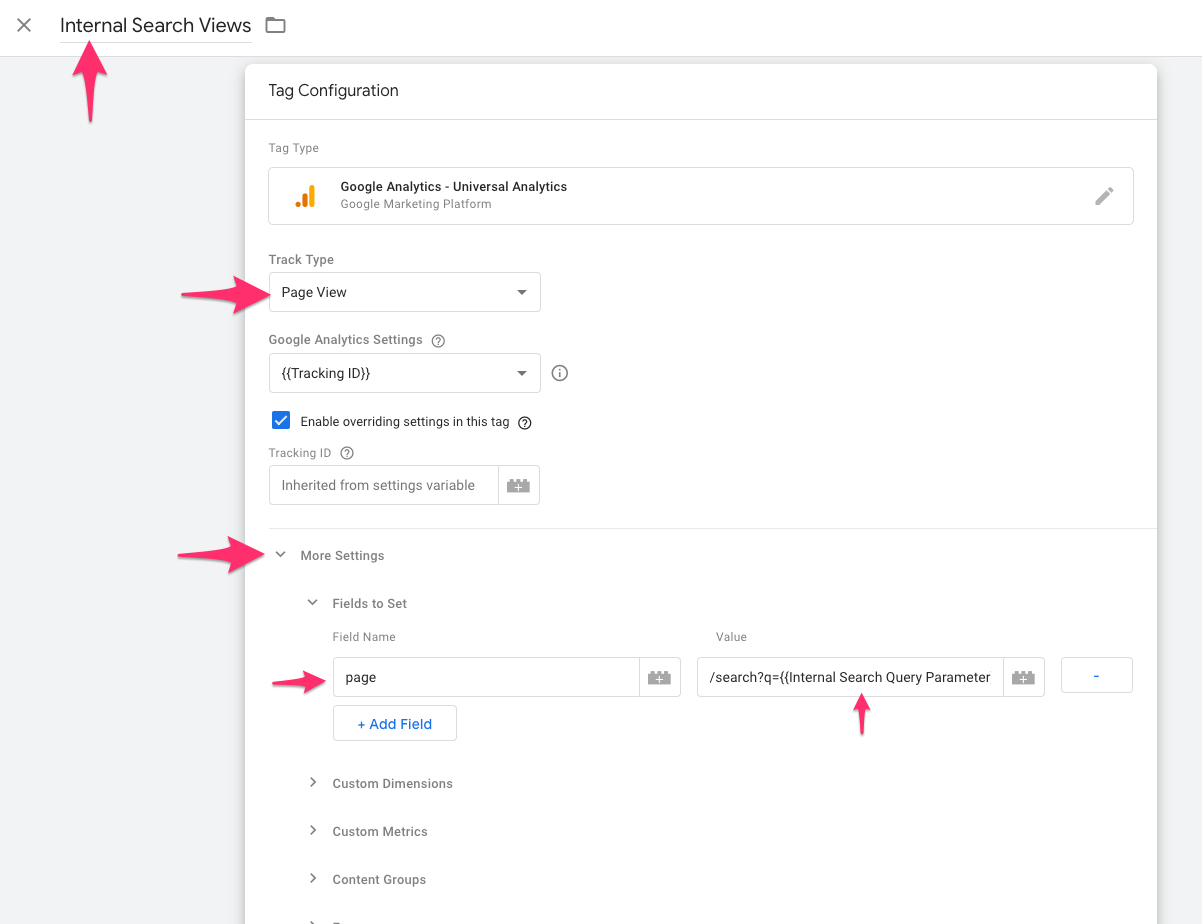 google tag manager internal search view